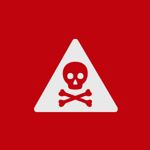 Skull and crossbones in danger warning sign